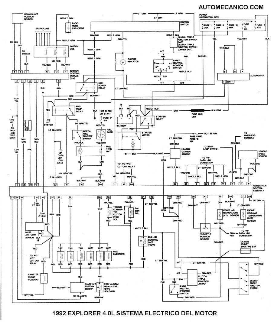 1992 motor 4 0l sistema electrico del motor