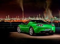 L'arrière de la Tesla Roadster en vert