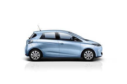 Le côté de la Renault ZOE en bleu Energy