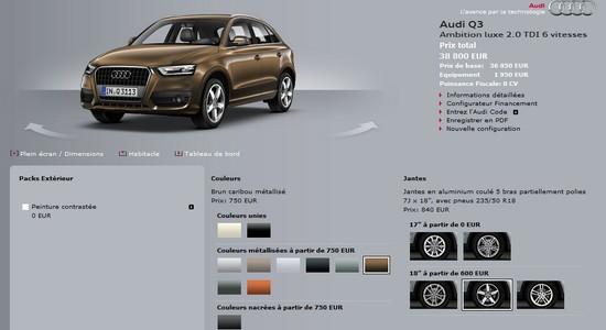 audi q3 place au configurateur automotive marketing. Black Bedroom Furniture Sets. Home Design Ideas