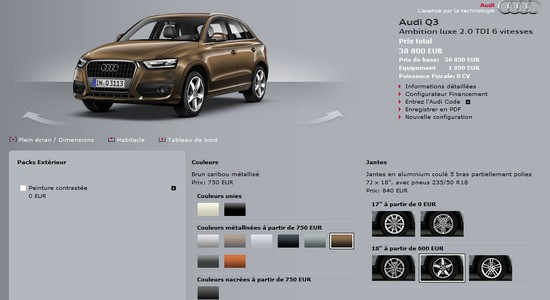audi q3 place au configurateur automotive marketing. Black Bedroom Furniture Sets. Home Design Ideas