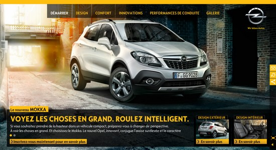 opel mokka il s 39 offre un agr able mini site automotive marketing. Black Bedroom Furniture Sets. Home Design Ideas