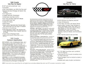 1995 Chevrolet Chevy Corvette Indy Pace Car Original Brochure 2 sided Fact Sheet Back