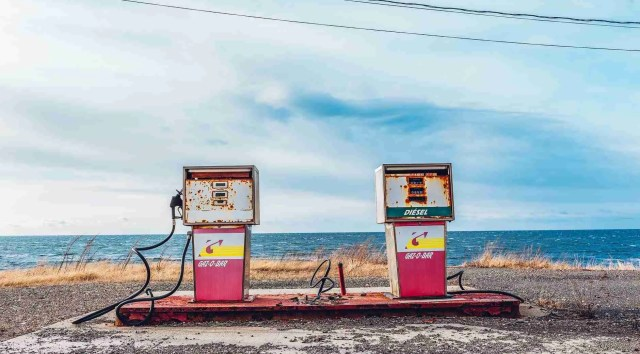 two gas pumps e-85 fuel and gas