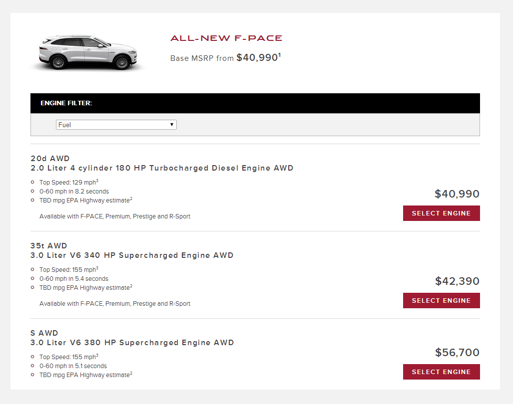 Jaguar F Pace Configurator Goes Online In The Us