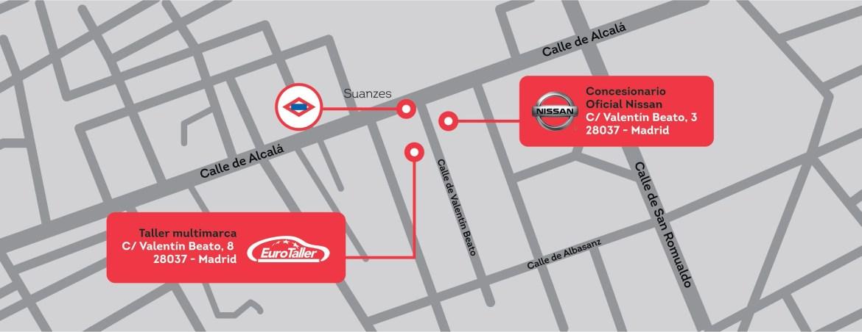 taller Nissan mapa Madrid