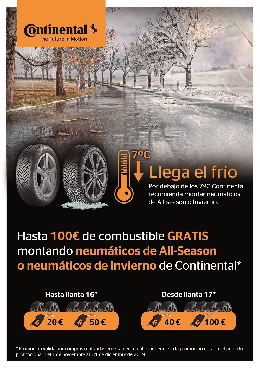 Gana hasta 100€ en combustible por montar neumáticos Continental