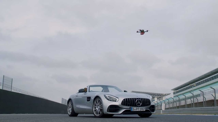 Mercedes-AMG GT Roadster racing DRONE
