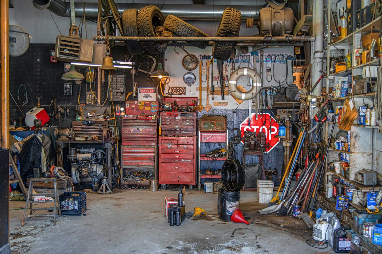 A cluttered garage