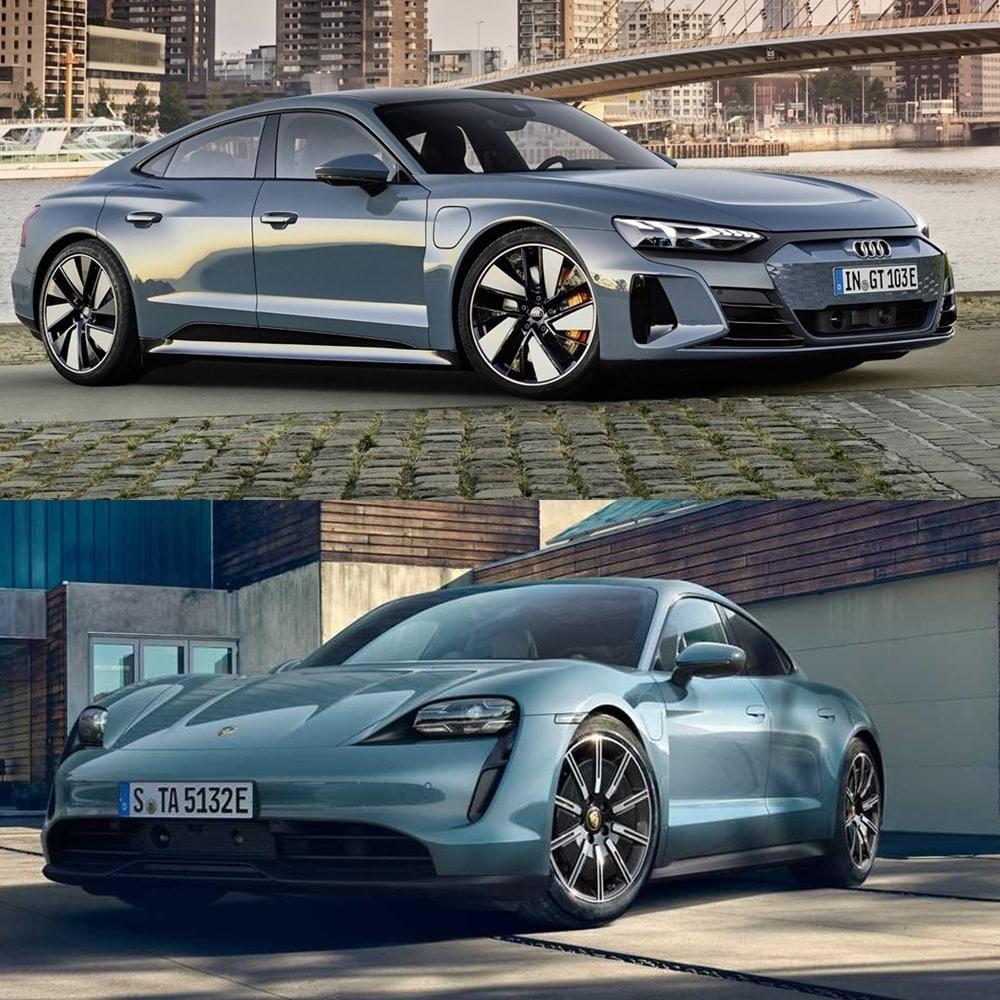 Visual comparison Audi e-tron GT and Porsche Taycan 2021