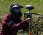man using paintball gun