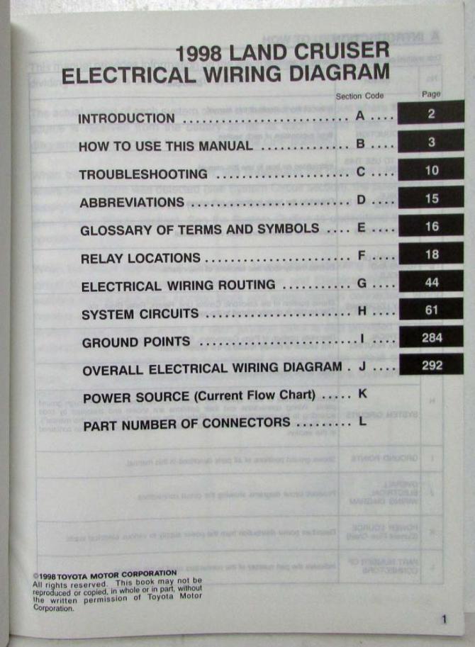 1998 toyota land cruiser electrical wiring diagram manual