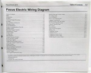 2014 Ford Focus Electric Electrical Wiring Diagrams Manual