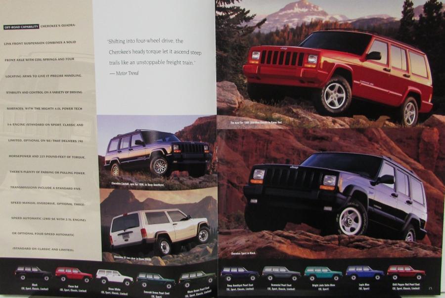1998 Jeep Wrangler Cherokee Amp Grand Cherokee Color Sales