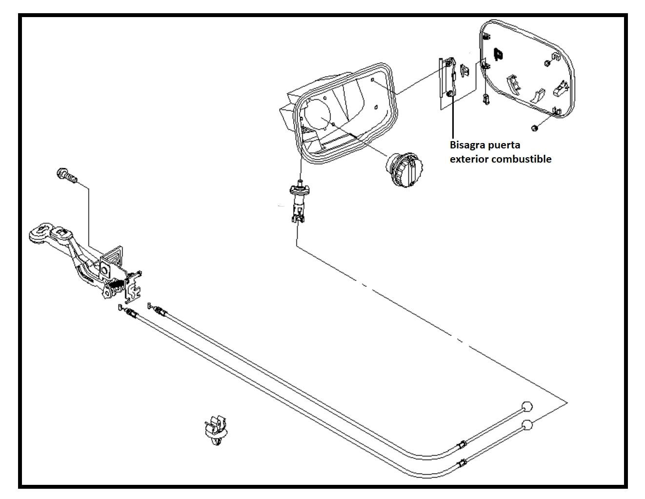 Bisagra Tapa Exterior Tanque Combustible Chevrolet Aveo