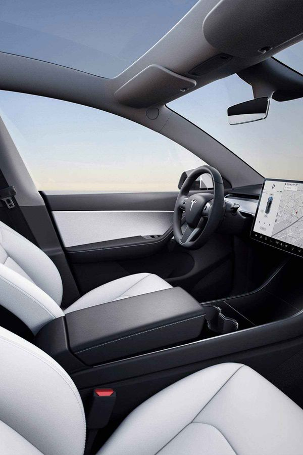 tesla black and white interior 15 inch touchscreen