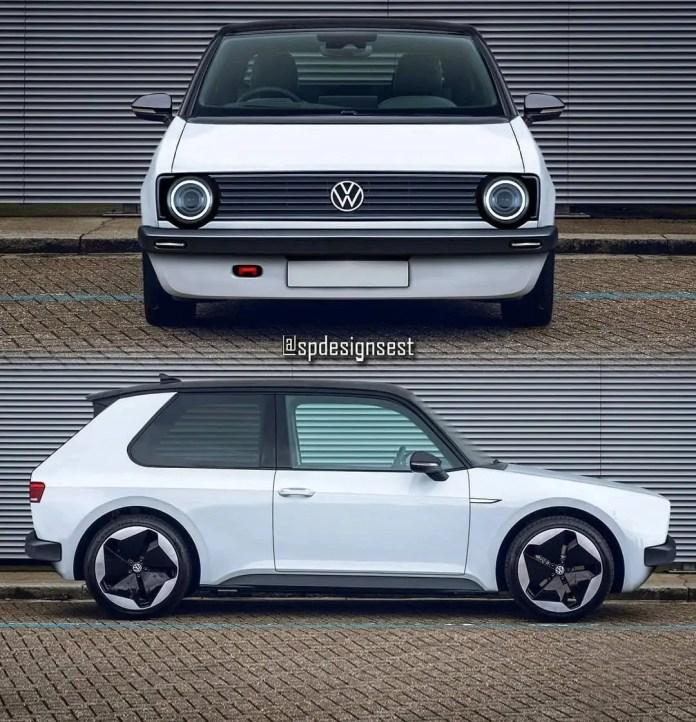 Volkswagen Golf MK1 il Rendering nello stile della ID.3