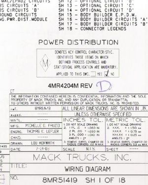 Mack Wiring Diagram Chassis CT 20042005