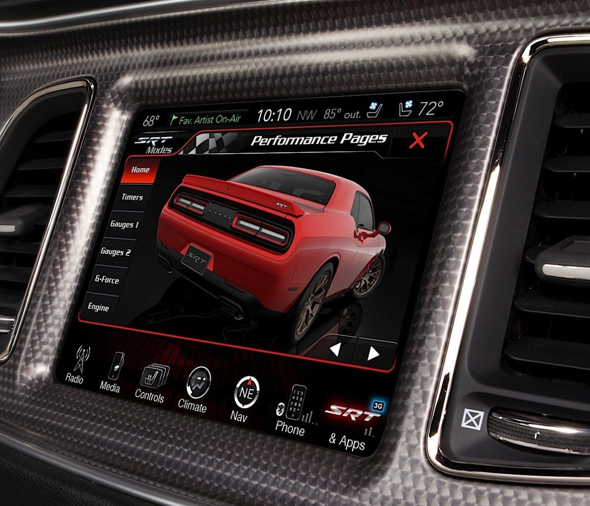 2015 Dodge Challenger SRT Hellcat 8.4 inch U-Connect Performance Pages Home screen