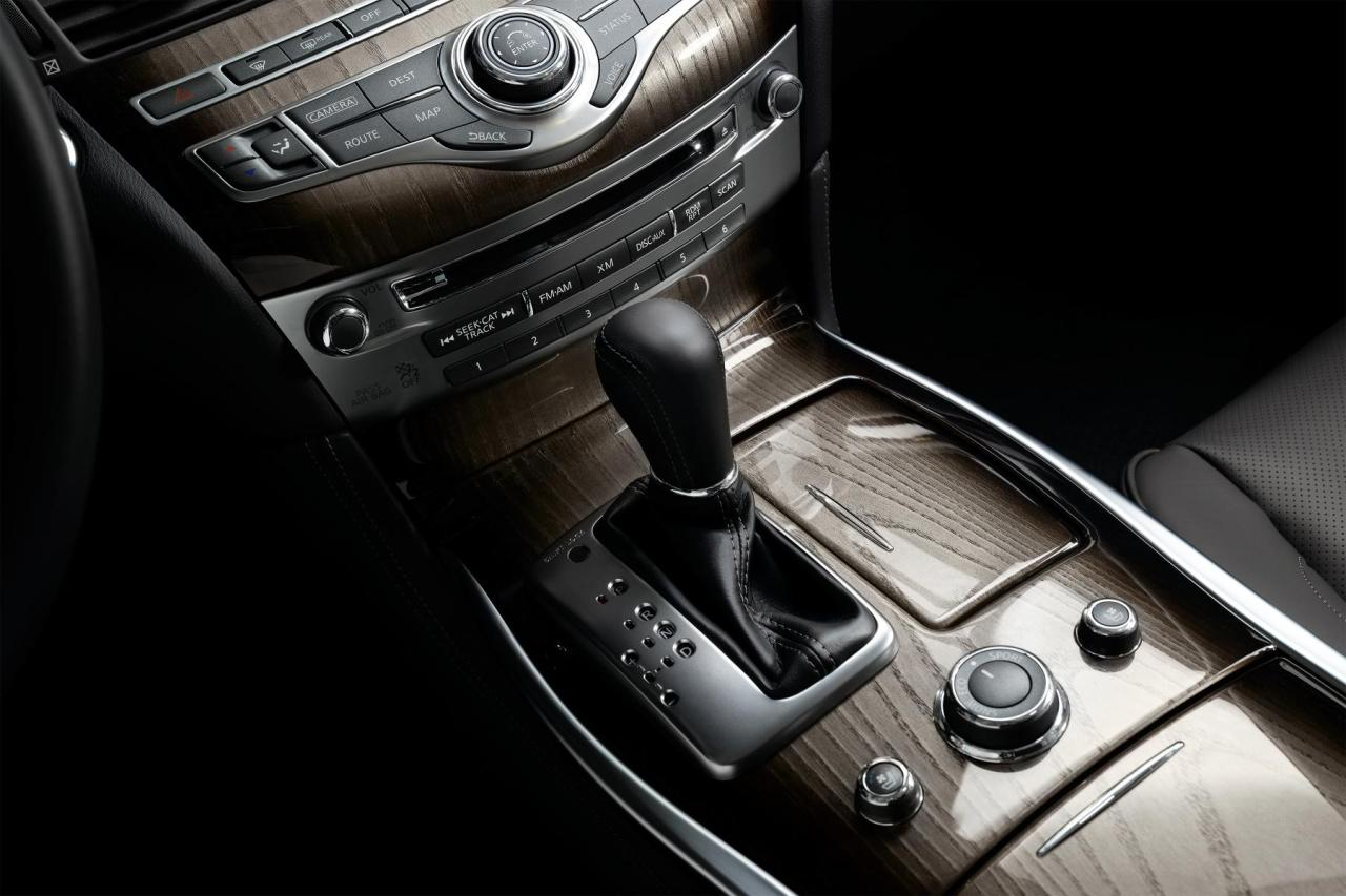 The 2015 Infiniti Q70L stick and central console.
