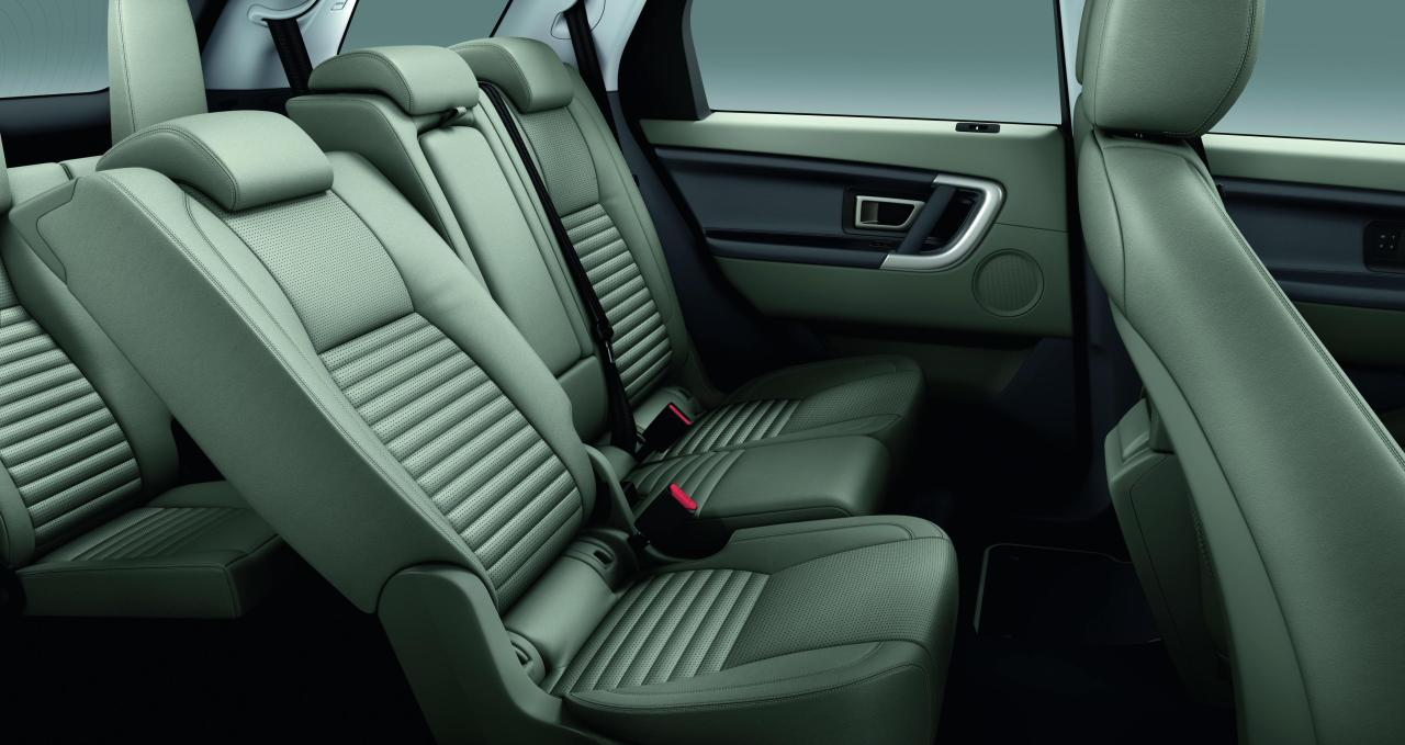 The Land Rover Discovery Sport rear seats.