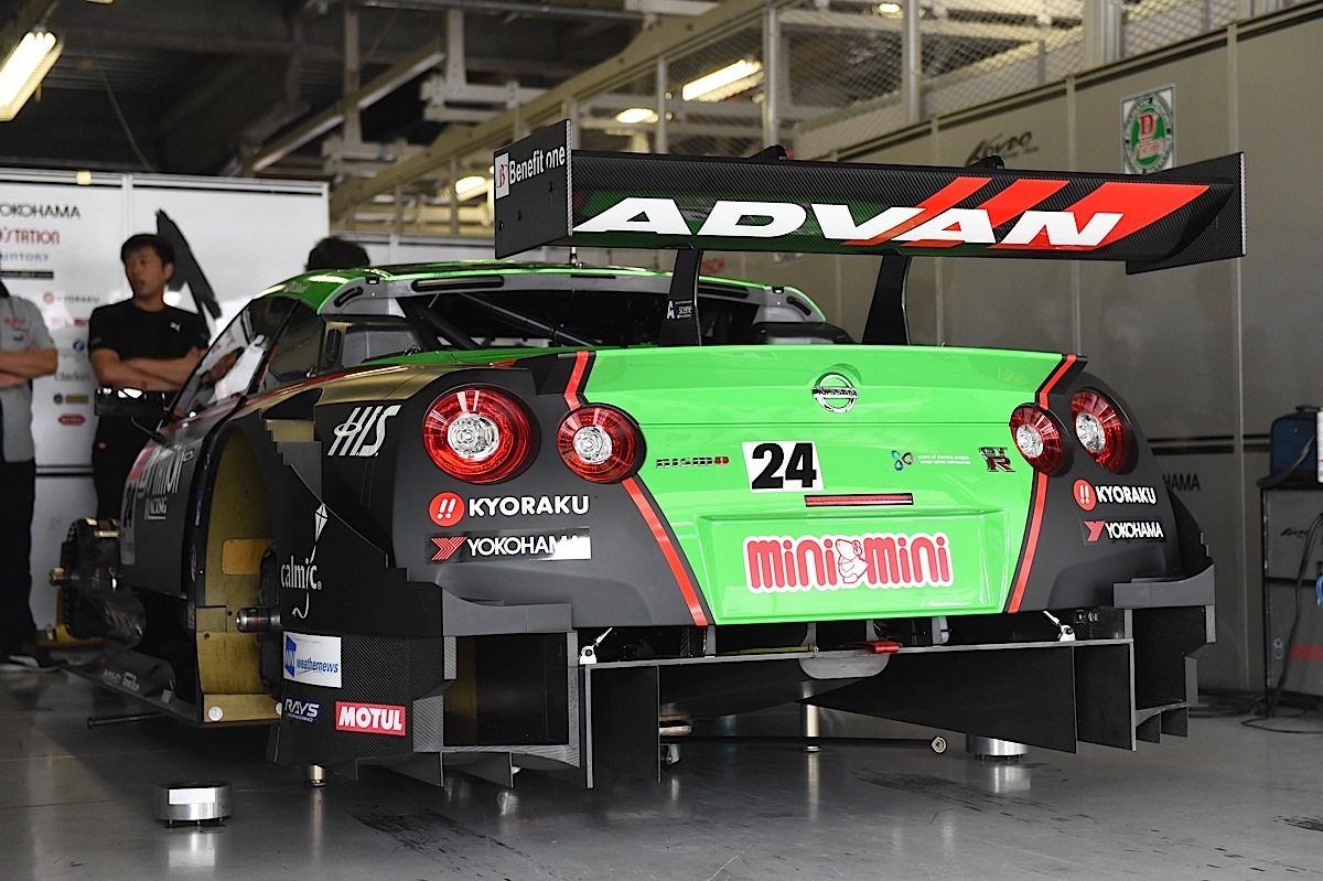 SUZUKA, JAPAN - AUGUST 31:  #24 D'station ADVAN GT-R in the pit before the race during the 2014 AUTOBACS GT Round 6 43rd International 1000km - Final Race at Suzuka Circuit on August 31, 2014 in Suzuka, Japan.  (Photo by Atsushi Tomura/Getty Images for MOBILITYLAND)