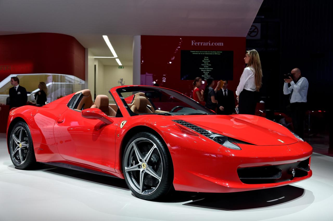 Ferrari 458 Italia Spider at the Paris Auto Show.