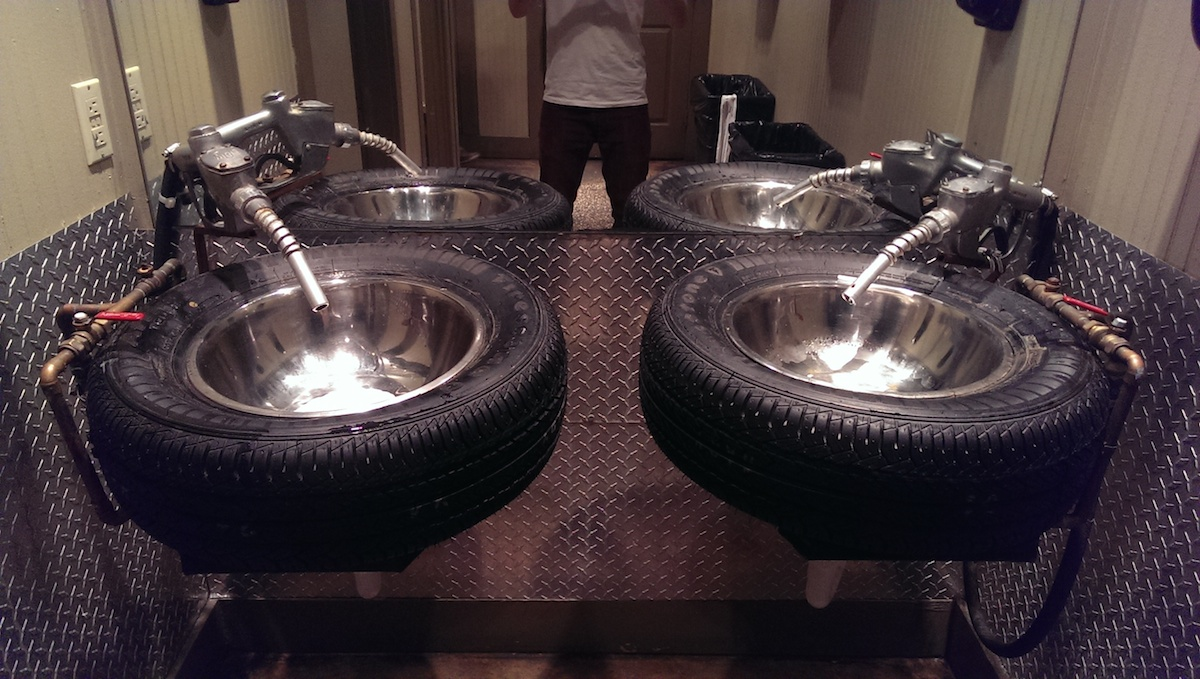 Car nut's ideal bathroom