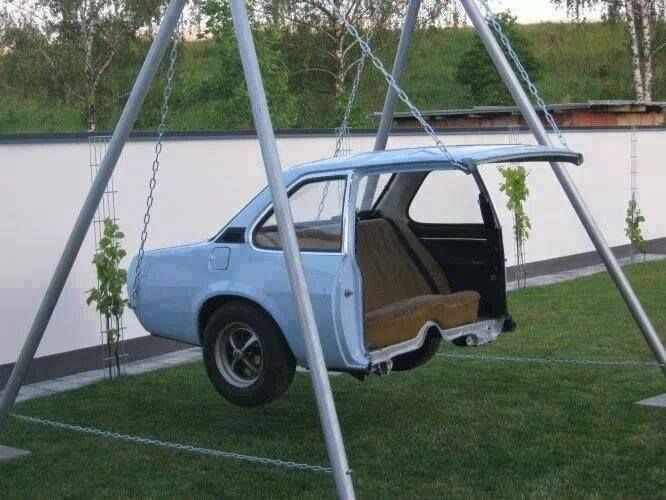 Swing made from car