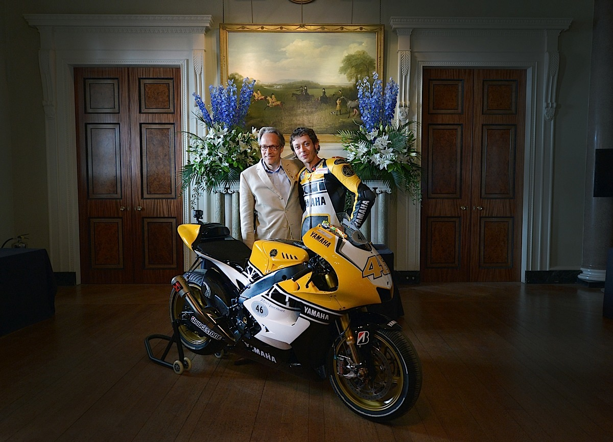 CHICHESTER, ENGLAND - JUNE 28:  Valentino Rossi (R) and Lord March (L) pose with the 60th anniversary Yamaha bike inside the hallway of Goodwood House during the Festival of Speed on June 28, 2015 in Chichester, England.  (Photo by Charles McQuillan/Getty Images for Yamaha Motor Co., LTD)