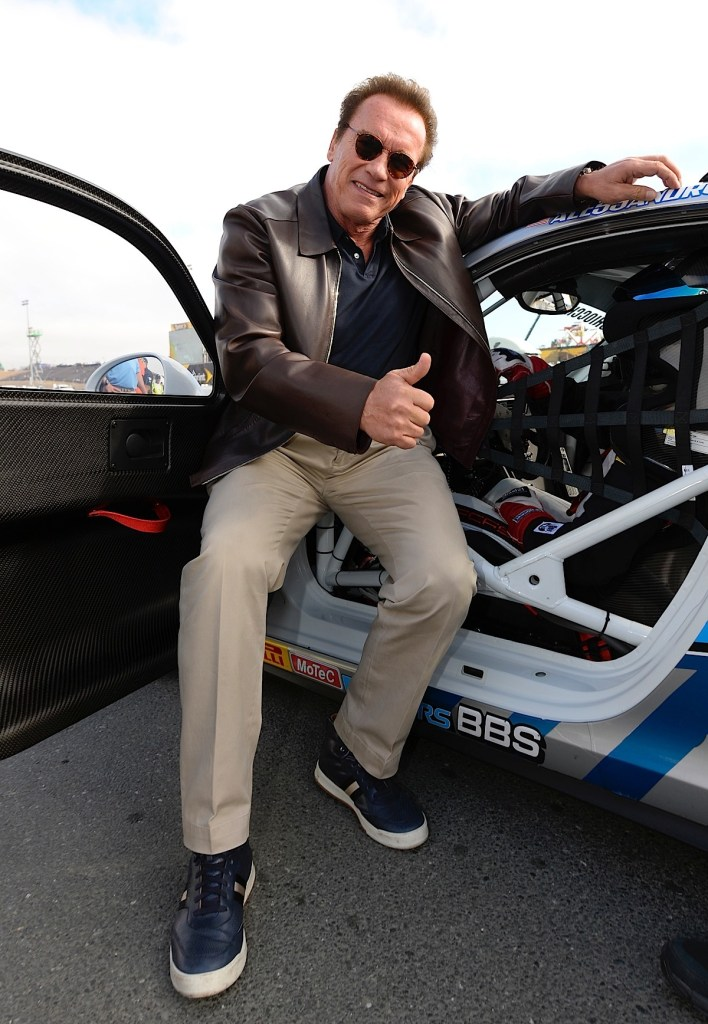 SONOMA, CA - JUNE 28:  Actor and former governor of California Arnold Schwarzenegger poses for a picture on pit road prior to the NASCAR Sprint Cup Series Toyota/Save Mart 350 at Sonoma Raceway on June 28, 2015 in Sonoma, California.  (Photo by Robert Laberge/Getty Images) *** Local Caption *** Arnold Schwarzenegger