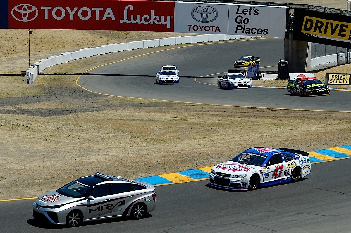 SONOMA, CA - JUNE 28:  Actor and former governor of California Arnold Schwarzenegger drives in the 2016 Toyota Mirai pace car, a hydrogen fuel-cell electric vehicle, on pit road prior to the NASCAR Sprint Cup Series Toyota/Save Mart 350 at Sonoma Raceway on June 28, 2015 in Sonoma, California.  (Photo by Robert Laberge/Getty Images) *** Local Caption *** Arnold Schwarzenegger