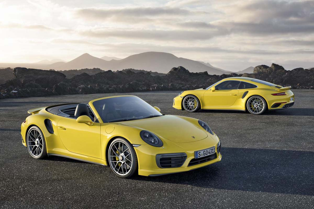 The 2017 Porsche 911 Turbo S, which comes as either a coupe or convertible