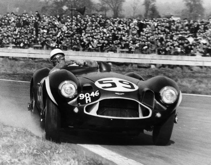 Stirling Moss driving the Aston Martin DB3S at Goodwood