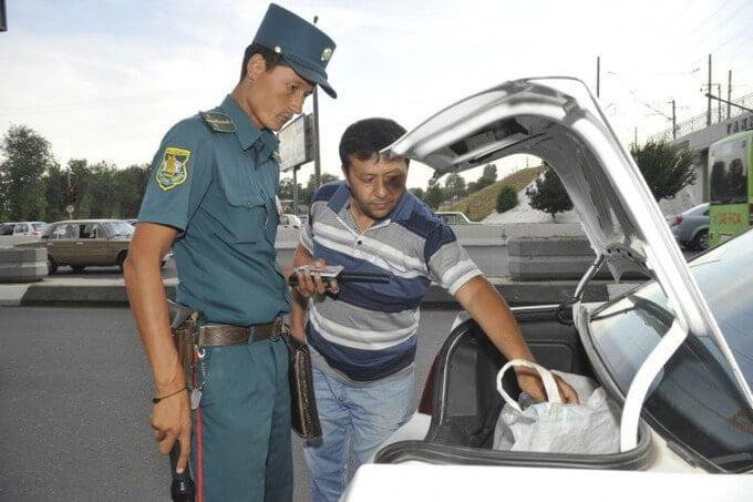 Милиция ГАИ Досмотр блокпост Узбекистан