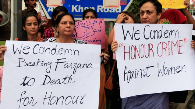 Members of civil society and the Human Rights Commission of Pakistan protest in Islamabad, against the killing of Farzana Iqbal