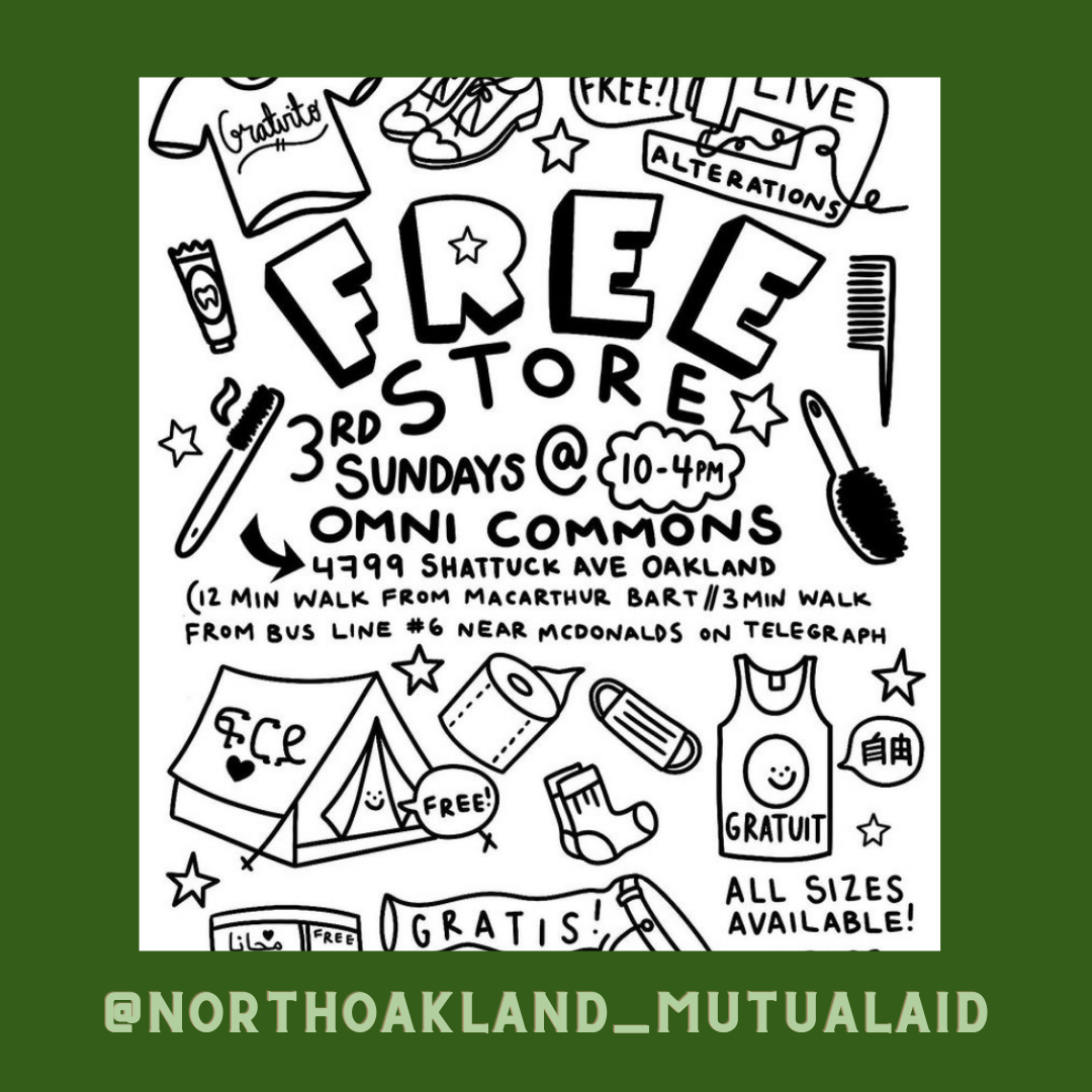 Free Store is this Sunday 11/20 from 10-4 on the sidewalk outside of Omni Commons at 4799 shattuck ave in Oakland, CA. We will have TENTS for sure this time, thanks to all of your support reposting and donating to our fundraiser. 💕 we will also have lots of cold weather clothes, blankets, and weatherproofing supplies. And the live alterations will be happening, too!
