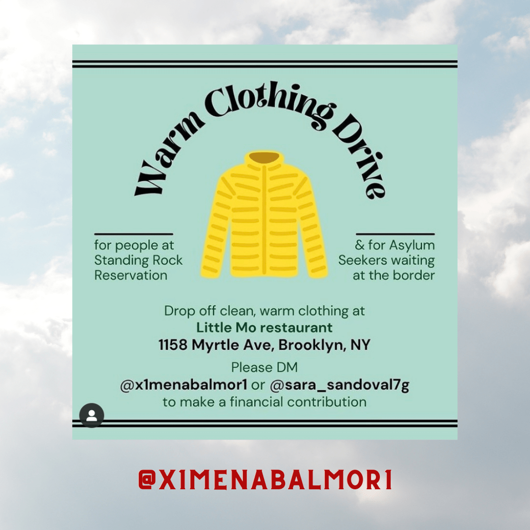 Image shows a yellow coat with text that reads Warm clothing drive and information on how to donate.