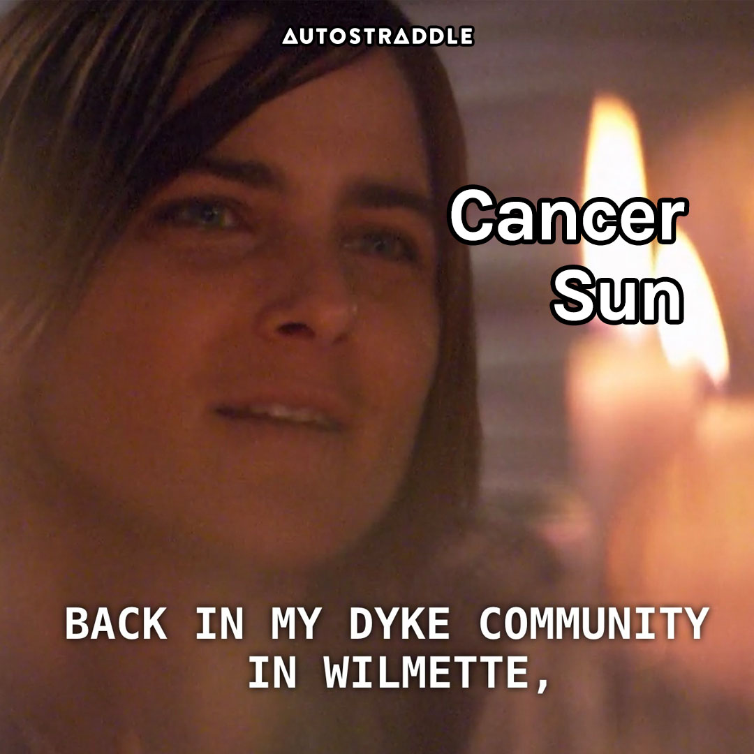 """Cancer Sun: Max in candlelight """"Back in my dyke community in wilmette,"""""""