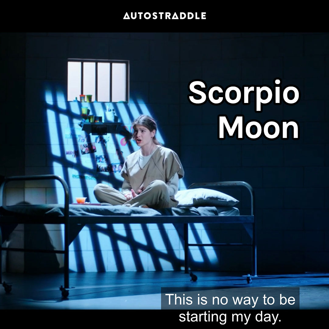 """Scorpio Moon: Jordi on stage, on a rusty bed with dramatic lighting """"This is no way to be starting my day."""""""