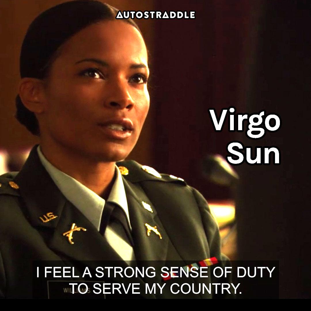"Virgo Sun: Tasha in uniform ""I feel a strong sense of duty to serve my country."""