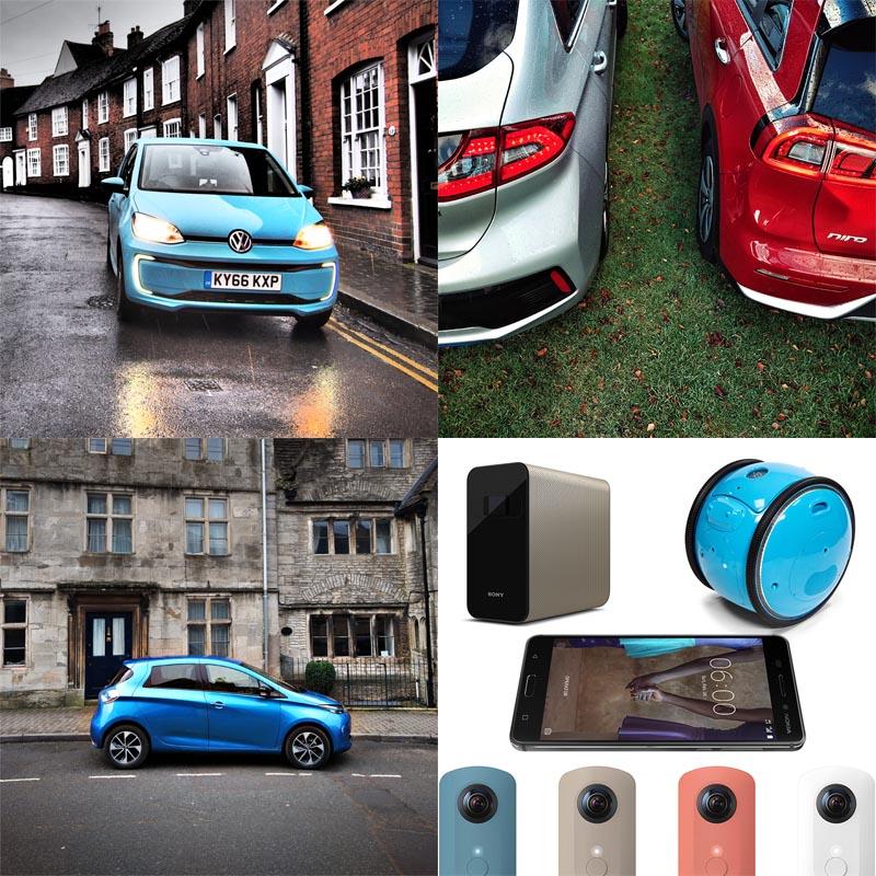 VW e-up!, Renault Zoe Z.E.40, Hyundai Ioniq Hybrid, Kia Niro Hybrid, Gadgets quad