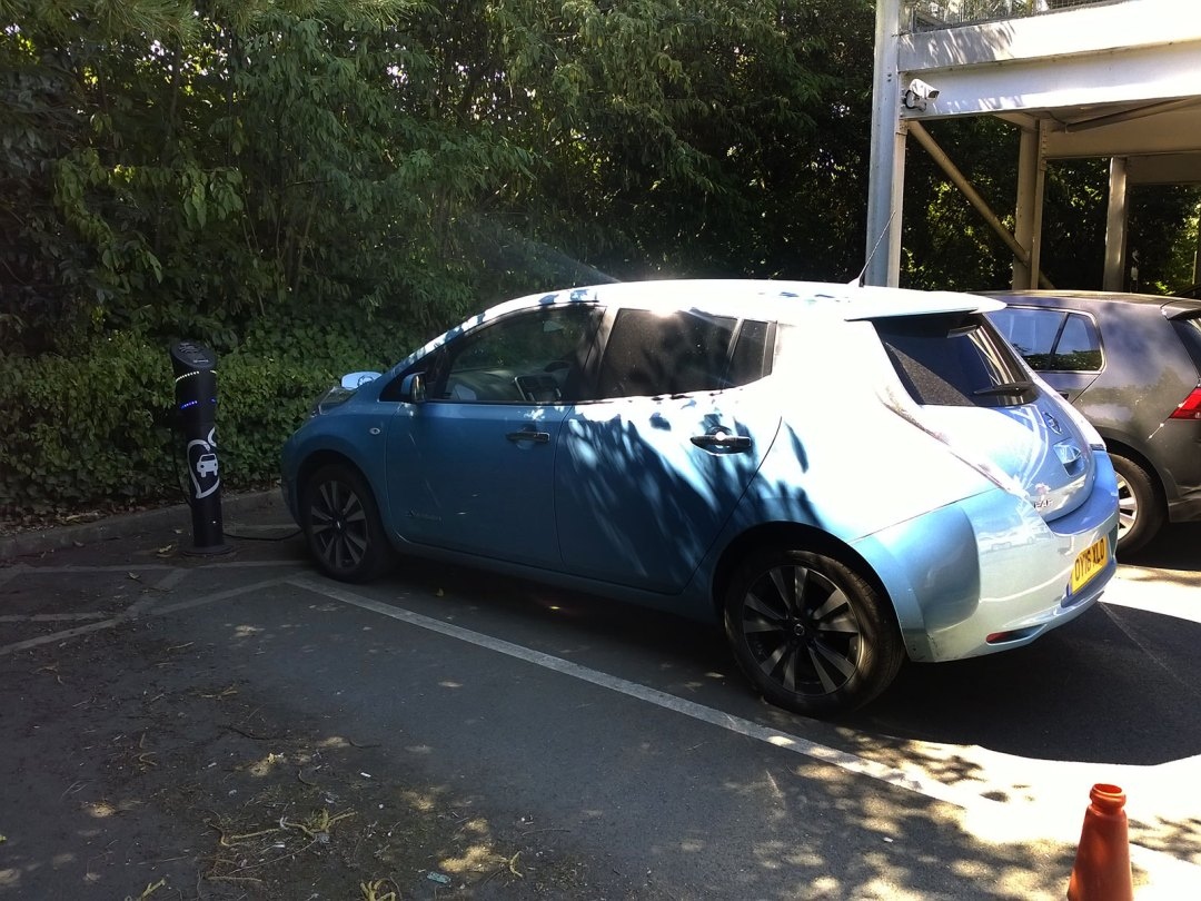 Nissan Leaf OY16XLO at Waitrose Source East charge point