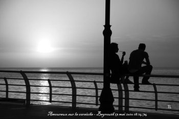 Amoureux sur la corniche à Beyrouth