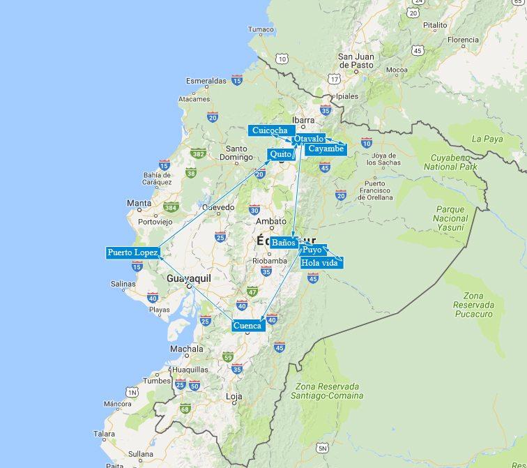 La carte de notre périple en Equateur