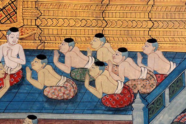tapisserie près du bouddha couché