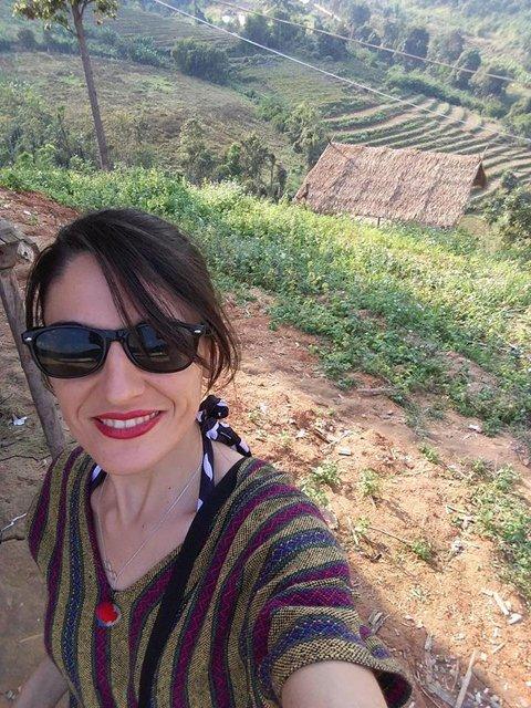 Selfie avec les rizières