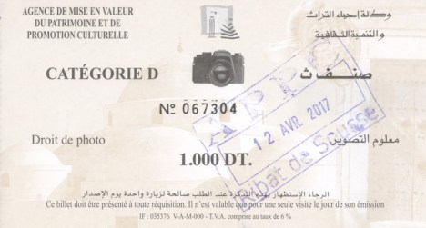 "Ticket ""droit à la photo"" pour la visite du Ribat de Sousse"