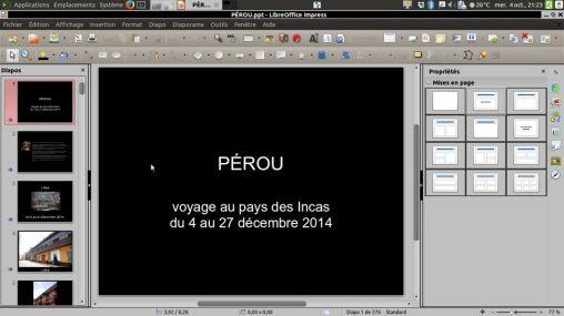 LIbreOffice la suite bureautique livrée de base et ici Impress (équivalent Powerpoint)