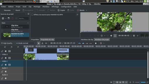L'excellent KDEnLive pour réaliser des montages vidéos